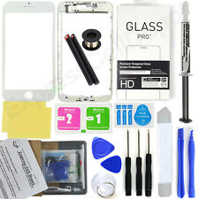 White iPhone 8 Plus Front Screen Glass Lens Replacement Kit LOCA glue wire tool
