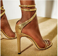 Womens Gold Stiletto Strappy Sandals Sexy High Heels Open Toe Buckle Pumps Shoes