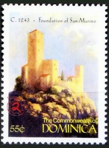 1243 San Marino Founded in Italy, History, Dominica MNH, Millennium