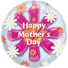 """32"""" Pink Daisy Flower Happy Mother's Day Party Insider Round Flat Foil Balloon"""