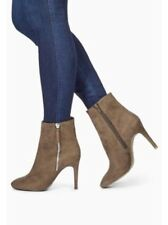 NEXT MINK SUEDE ZIP DETAIL ANKLE BOOTS SIZE 4 WIDE FIT EUR 37 BNIB