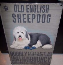 """OLD ENGLISH  SHEEPDOG 12""""X 8"""" METAL SIGN  WITH CHARACTER DESCRIPTIONS 30X20cm"""