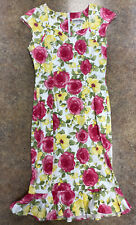 Bettie Page Las Vegas womens pink yellow Floral capped sleeve frill hem dress XL