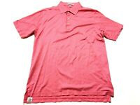 Peter Millar Mens Red Plaid Short Sleeve Polo Golf Shirt Size Large