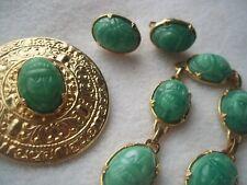 Lovely vintage Green Glass Scarab pin, bracelet, earrings Set