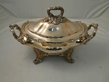 Soup Tureen Georgian 1840 Silver Plated Cast Handles & Border Crested Old Sheff