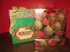 4 pc. Gift Bag Set Animal print & Red / Animal print & green w/3D holly  NEW