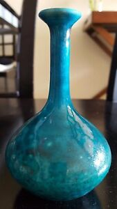Handmade Green Blue Ceramic  Pottery Vase Great Condition!