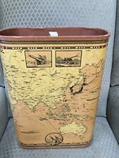 WWII Ernest Dudley Chase TOTAL WAR BATTLE MAP Mounted on Wastebasket 1942