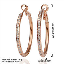 Lovely 18K Rose Gold GP Circle Hoops Crystal Earrings Free Shipping From USA