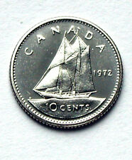 1972 CANADA Elizabeth II 10 Cents Coin - UNC lustre (from mint set)