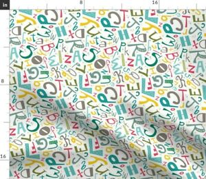 Alphabet Colorful Kids Typography Teacher Letters Spoonflower Fabric by the Yard