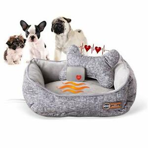 K&H PET PRODUCTS Mother's Heartbeat Heated Dog Bed with Bone Pillow Heartbeat...