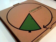 "16"" x 16"" x 2"" GreenBox Corrugated Pizza Box with Built-In Plates 50/Bundle"