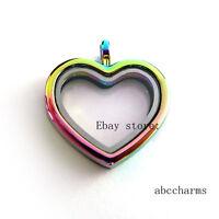 1pc Plain Rainbow Heart Floating Charm Locket Living Memory Glass Locket