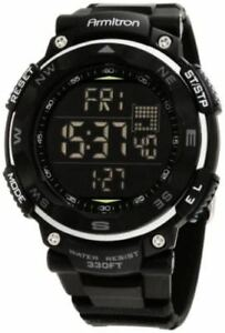 Armitron 40/8254BLK,  Men's Black Resin Watch, 100 Meter WR, Chronograph