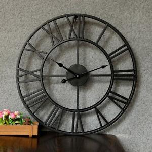 Große Metall Wanduhr mit Quarz Uhrwerk - 40 cm Römische Ziffern Vintage Quarzuhr