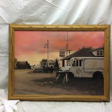 Framed Art Cityscape Mobilgas Sign Car Tractor Highway 53 by Scott Coleman