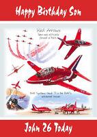 Personalised birthday card red arrows aeroplane son grandson dad nephew brother