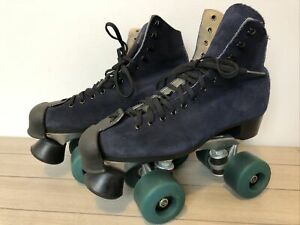 Vintage Blue Suede Leather Roller Skates Size 6 Kryptos Wheels MINT Condition