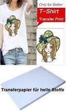10 Blatt DIN A4 T-Shirt Transferpapier für helle Stoffe - für Inkjet Drucker