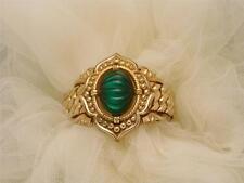 WIDE & RARE Antique Vtg Gold GF Sweetheart Expansion Bangle Bracelet GREEN DOME
