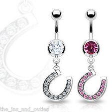 Horseshoe Clear Gem Belly Ring Navel Naval Lucky Horse Shoe Clear, Pink