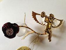 Engel & Rosa mit Swarowski Kristallen Bestückt Gold Plattiert Suncatcher DEKO
