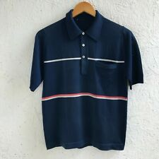 VINTAGE MONTAGUT PARIS MADE IN FRANCE SIZE 2 BLUE POLO SHIRT CASUAL MENS STRIPED