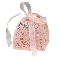 Laser Cut Rose Flower Candy Boxes Wedding Favor Baby Shower with Ribbon