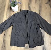 EILEEN FISHER Women's Gray Open Front Jacket Size Medium Blazer Mandarin Collar