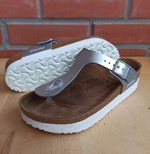 Papillio Birkenstock 38 EU 7 7.5 US Gizeh Platform Sandals Marble Silver Regular