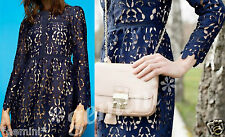 ZARA BLUE EMBROIDERED LACE GUIPURE DRESS KLEID SPITZE STICKEREI SIZE M  9775/041