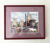 Art Watercolor Print Reproduction Of French Park In Maroon Frame, Pink Mat