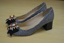 JCrew $298 Collection Jeweled Heels in Houndstooth Sz 7.5 Navy Blue F5922 Shoes
