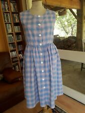 ANCIENNE ROBE TABLIER COTON T.36 VINTAGE 50 Old cotton dress apron size xs