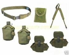 US Military LBE LOT 2 Canteens w Pouches First Aid Suspenders LG PISTOL BELT VGC