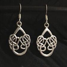 Dangle Earrings 1 3/8� X 9/16� Nice Estate Sterling Silver Celtic Scroll Design
