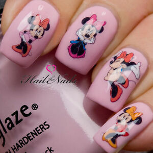 Minnie Mouse Bows Nails Nail Art Design Decals Water Transfers Stickers #818