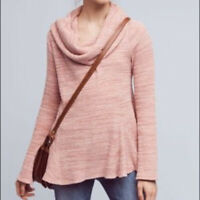 Anthropologie Women's Postmark Maurisa Cowl Neck Top Thermal Sweater Pink XS