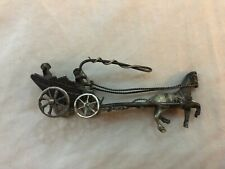 Vintage Dutch or Chinese Sterling Silver miniature Man w WHIP in Horse CART