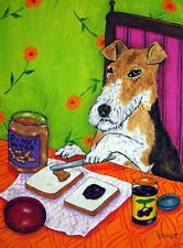 Fox Terrier making a peanut butter jelly Dog art print 11x14 picture gift