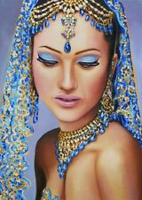 """Indian Blue"": Original Oil Painting Gift."
