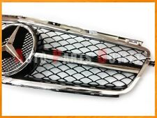 Chrome/Black 1 Fin Mesh Front Grille Only for 08-11 M-BENZ W204 C63AMG Sedan 4Dr
