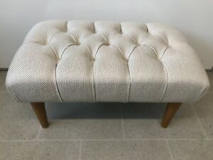 "Stunning NEW Large Cream / Beige Cross Weave 23""x 14"" Buttoned Foot Stool"