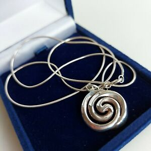 STERLING SILVER Swirl Pendant and Snake Chain, Stamped 925, 5.3 grams.