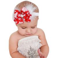 Baby Christmas Headband Feather Bow Snow Flower Girls HairBand Hair Accessories