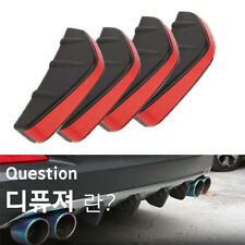 ABS Rear Bumper 4 Shark Fins Diffuser Fin Car Spoiler Decoration Black & Red