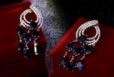 18k White Gold Chandelier Earrings made w Swarovski Crystal Sapphire Blue Stone