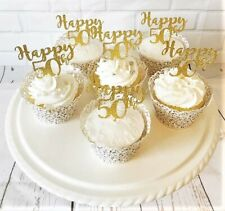 X6 Happy 50th Cupcake Toppers/Plant Picks-Gold Glitter-Birthday Party